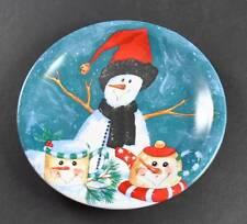 """Vintage Snowman Winter Ceramic Decoration Plate Serving Appetizer About 8"""""""