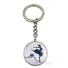 Charm Glass Cabochon silver Car Key chain ring pendant(ballet dancer