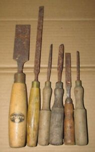 A Job Lot of Vintage Carpenters Wood Working Chisels Tools Incl MARPLES