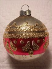 VINTAGE CHRISTMAS TREE ORNAMENT GLITTER MICA RED GOLD