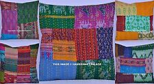 100 PC Wholesale Lot Patchwork Kantha Cushion Cover Silk Pillow Sham Sofa Decor