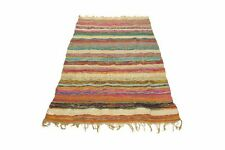 COTTON CHINDI WOOVEN INDIAN 3'x5' FEET MULTI HANDMADE RAG RUG THROW DARI VINTAGE
