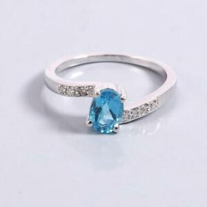 925 Silver Swiss Blue Topaz Engagement Ring 5x7 mm Oval 1 Ct blue topaz ring