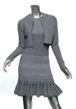 ALAÏA Black & Gray Bodycon Stretch Sleeveless Dress Cropped Jacket Set US6 FR38