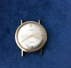 AROWE vintage HERREN UHR 14K 585 GOLD 32MM 22,4 Gramm läuft/ohne Krone