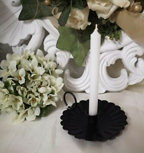 Candelabra Candlestick Candle Holder Metal Black 3 1/2x2in Shabby Decor