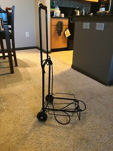 Trolley Dolly Black Shopping Grocery Foldable Cart