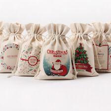Cadeau de Noël Sachets Pochettes Cadeaux Sac à cordon Toile Père Noël