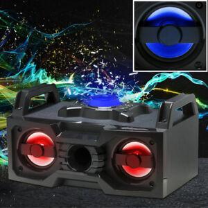 Stereo Lautsprecher Musik Anlage Bluetooth USB Radio LED Farbwechsel Beleuchtung