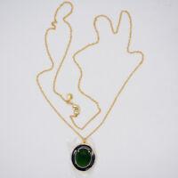 J.crew jewelry 14k gold tone green cut glass stone blue enamel pendant necklace