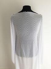 Optic White Clipped Chiffon Chevron Jacquard Dressmaking Fabric