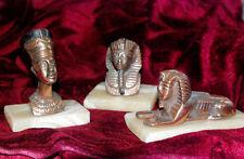 New listing Vintage Bronze Egyptian Nefertiti/Ramesses/Sphinx 3 Statues On Marble Base