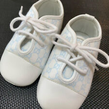 Gucci GG White/Light Blue Baby Shoes Size 17/11cm Unused
