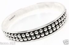 Taxco Mexican 925 Sterling Silver Beaded Pressed Beads Bangle Bracelet Mexico