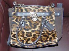 MICHAEL KORS HAMILTON Leopard Hair Calf/Brown Leather Shoulder X-Body Bag $368