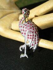 New Mom / Baby Real Ruby Encrusted 22- Estate 925 Sterling Silver Stork Brooch