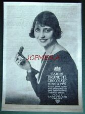1925 CARR'S 'Brunette Chocolate' Biscuits ADVERT - Small Art Deco Photo Print Ad