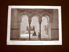 Incisione di Gustave Dorè del 1874 Sala Ambasciatori Alcazar di Siviglia Spagna
