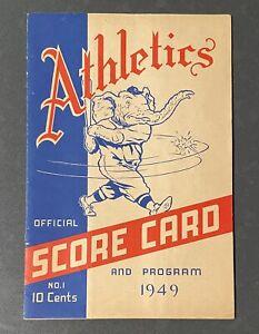 1949 Philadelphia Athletics Vs New York Yankees Program Scorecard W/ News Clips