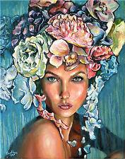 Teen Girl Female Women Portrait Face Summer Flowers Floral Oil Fine Art Painting