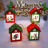 Christmas Small Wooden House With Lights Xmas Tree Hanging Lamp Decor