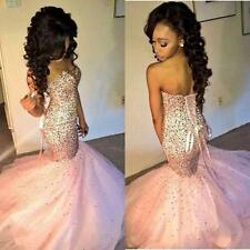 2017New Pink Long Mermaid Prom Dresses Evening Gown Cocktail Party Formal Dress