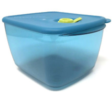 Tupperware Vent N Serve Container 6 1/4 cup Microwave Safe Peacock Aqua Blue New