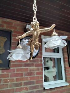 Restored French  Antique Cherub Chandelier Double Hanging Pendant Light