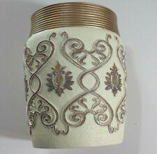 2 Popular Bath Savoy Bathroom Waste Basket- Gold/Ivory (Buy 2 pieces and save)