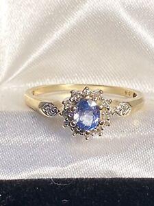 Vintage 9ct Gold Fully Hallmarked Ceylon Sapphire & Diamond Ring Size P