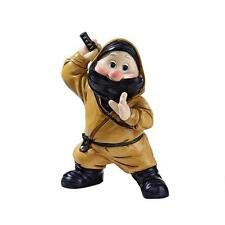 """10"""" Quirky Fighter Sword Wielding Hand Painted Ninja Warrior Garden Gnome"""