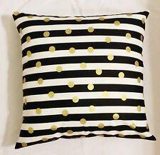 1 Black gold white stripe polka dot throw pillow cover sham 18 x 18 geometric