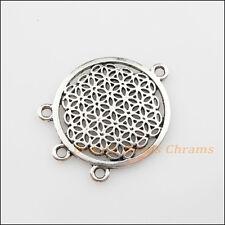2Pcs Tibetan Silver Tone Round Flower 1-3 Charms Pendants Connectors 29x37mm