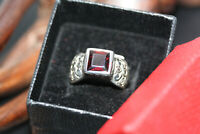 Modern Designer Heavy 925 Sterling Silver 3 CT Garnet Wide Women's Ring Sz 7.25