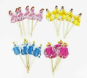 24pcs princess Cupcake Toppers Favors Kids Theme Birthday Party Decoration