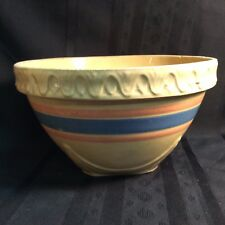 Blue And Orange Stripe Antique Stoneware Mixing Bowl Fine Quality