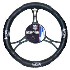 Official NFL Football Seahawks Team Logo Black Premium Steering Wheel Cover