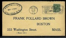 POSTMASTER double oval 1927 Halifax Canada cover