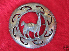 Peruvian 925 silver pin brooch with llama in bird heads convex circle 2.5 inch