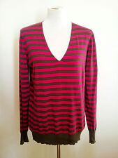 Jane Lamerton size 16 striped cotton long sleeve knit with v-neck
