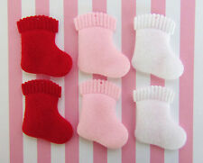 60 Padded Felt Christmas Stocking Applique/Red/Pink/White/sock/gift/holiday H551