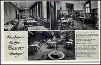 STUTTGART ca. 1940 Mehrbildkarte Konditorei Kaffee BAUER in der Kronenstrasse 31