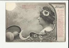 cartolina calendario mese luglio jiullet   1904