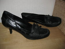 Womens 6 NINE & COMPANY Blk Real Leather Dress Shoes PUMPS Hi Heeled Loafers