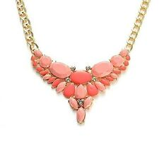 """Unique and Feminine Pink Stone w/Austrian White Crystal Necklace 18"""" in Goldtone"""