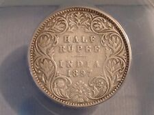 - Exceedingly Rare 1897 B India Victoria One Half 1/2  Rupee - 560 Minted