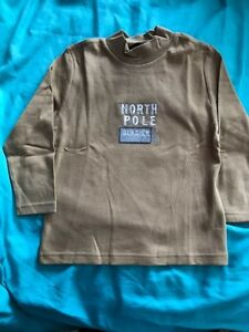 NEW BOY'S BROWN NORTH POLE LONG SLEEVE HIGH NECK TOP SIZES 4-5 6-7 8-9 10 YearS