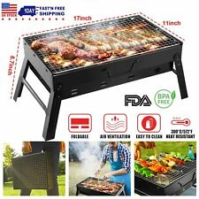 Fold Barbecue Charcoal Grill Stove Shish Kabob Stainless Steel BBQ Patio Camping