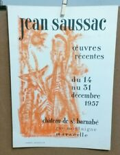 AFFICHE ANCIENNE EXPOSITION JEAN SAUSSAC CHATEAU ST BARNABE MARSEILLE BERTO 1957