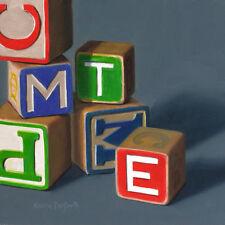 DANFORTH Alphabet Blocks 6x6 still life realistic oil painting, retro fun